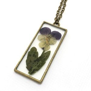 Jewelry - Antique Brass Dried Violet Pendant Necklace